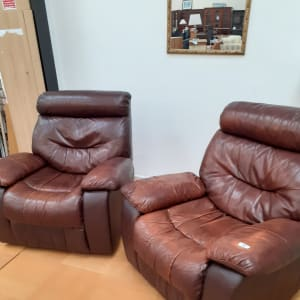 2 x Brown Leather Recliner Armchairs - Bilston