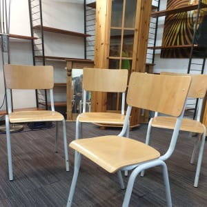 Set of 4 Old School Style Stacking Chairs