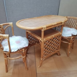 Small Cane Dining Table and Chairs - CT Bilston