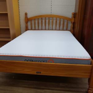 Pine Double Bed Frame with Octasmart Memory Foam mattress