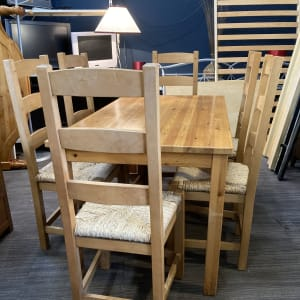 Rustic Dining Table and x 6 Chairs