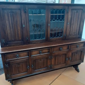 English Tiger Oak Buffet w/Trestle Base-Bilston