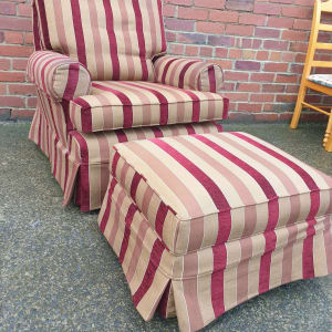 Striped fabric armchair and footstool