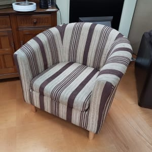 Beige Striped Tub Chair - CT Bilston