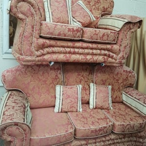 Red Three Seater and Two Seater Sofa Set - CT Bilston